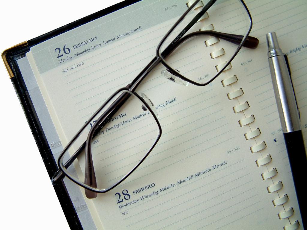 Agenda and glasses